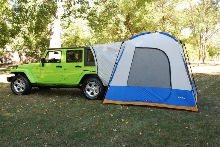 Jeep Wrangler Tent. Sleeps 4-6 people comfortably with room to spare (especially if you utilize your Jeep's cargo space). $329