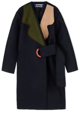 What to shop now: this color blocked Jacquemus coat.