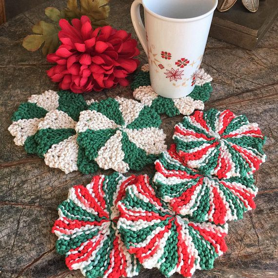 Knitted coasters set of 4 coasters beverage coaster drink #etsy #coasters #kitchen #drinks #knitting