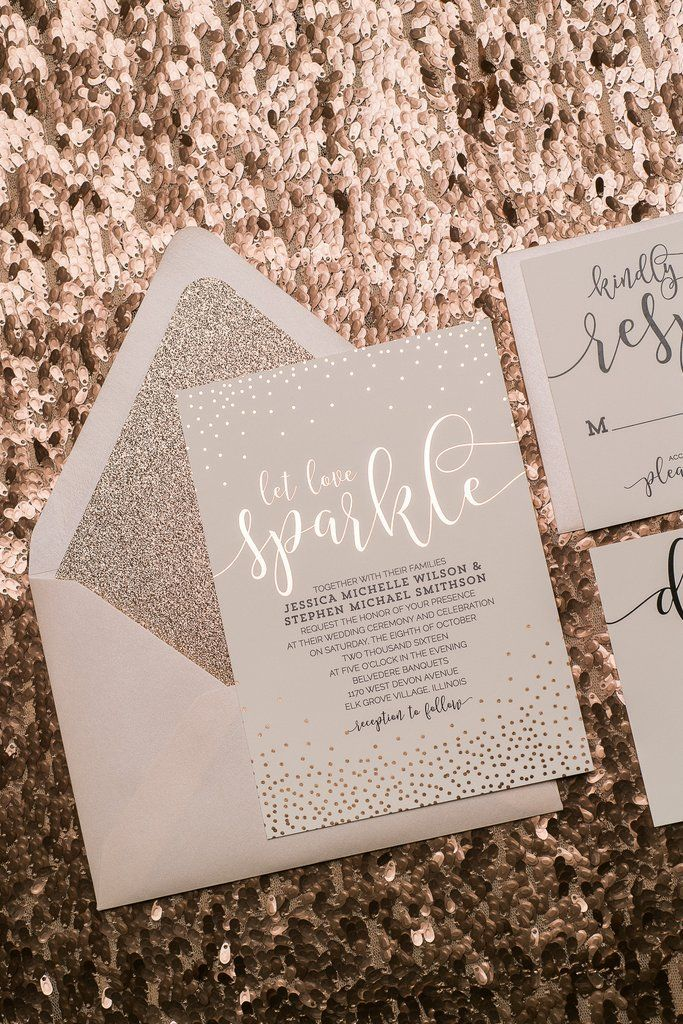 WHITNEY Suite Glitter Package, rose gold foil wedding invitations, rose gold glitter, black and rose gold, blush and gold, Let Love Sparkle