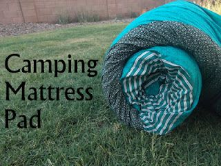 DIY Camping Foam Pad -- need Queen Sized Foam Mattress Pad, Fabric (or a queen sized sheet would work better),   Velcro, Rope