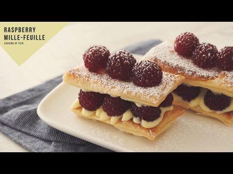 산딸기 밀푀유 만들기, 라즈베리 레시피:How to make Raspberry mille-feuille:ラズベリーミルフィーユ- Cooking tree 쿠킹트리 - YouTube