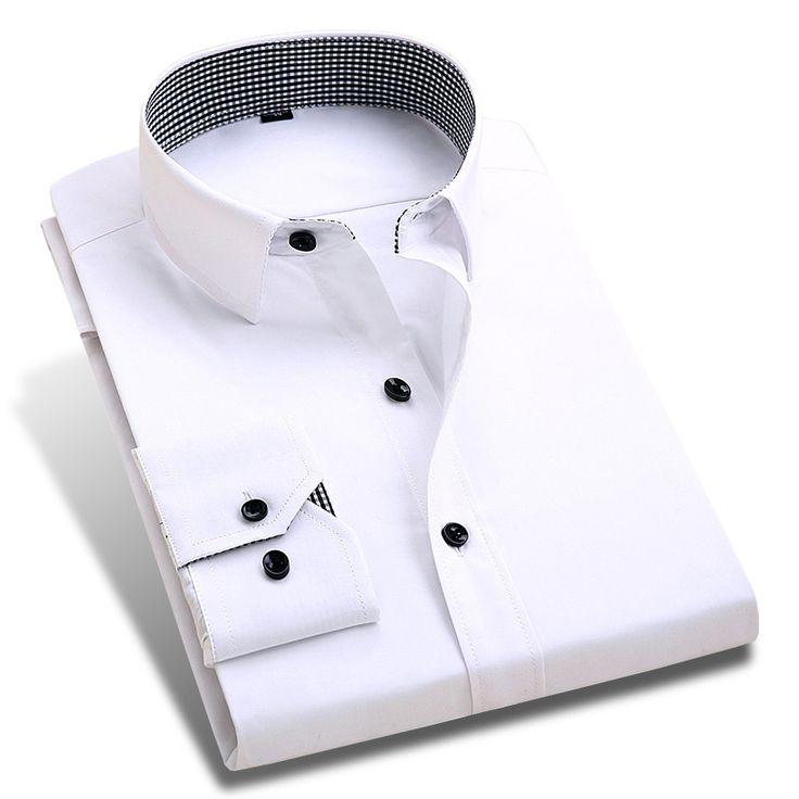 2017 New Spring Men Dress Shirts Patchwork Plaid Neck Long Sleeve Formal Business Pure Color Men Casual Shirt Plus Size XXL #jewelry, #women, #men, #hats, #watches, #belts, #fashion