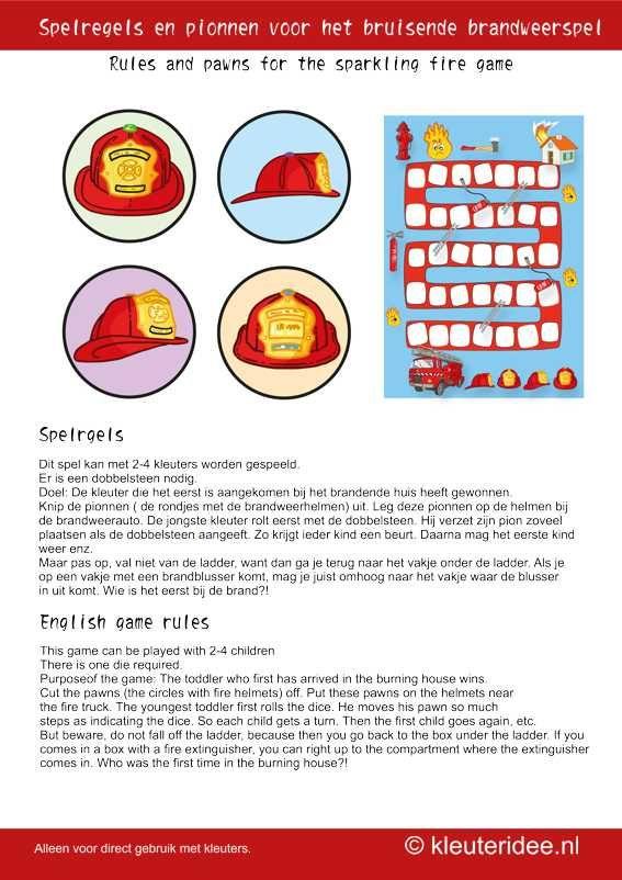 Het bruisende brandweerspel voor kleuters, pionnen, kleuteridee.nl , the sparkling fire game for preschool pawns(Dutch and English), free printable