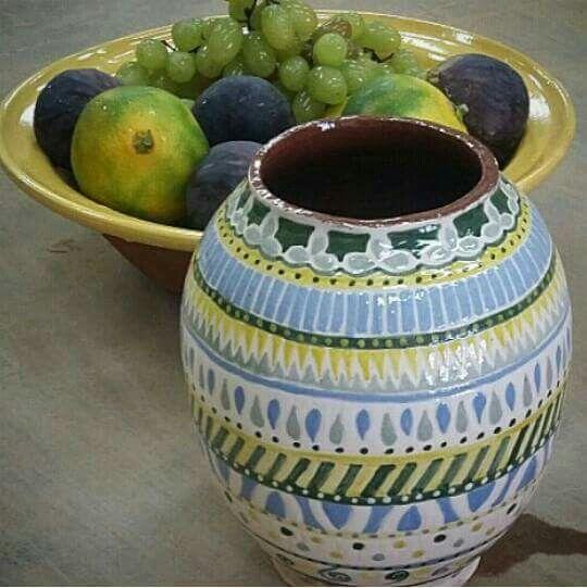 Celebrating my new earthenware jar in the studio. Fresh fruits are in my master potter's bowl. #handmadeceramics
