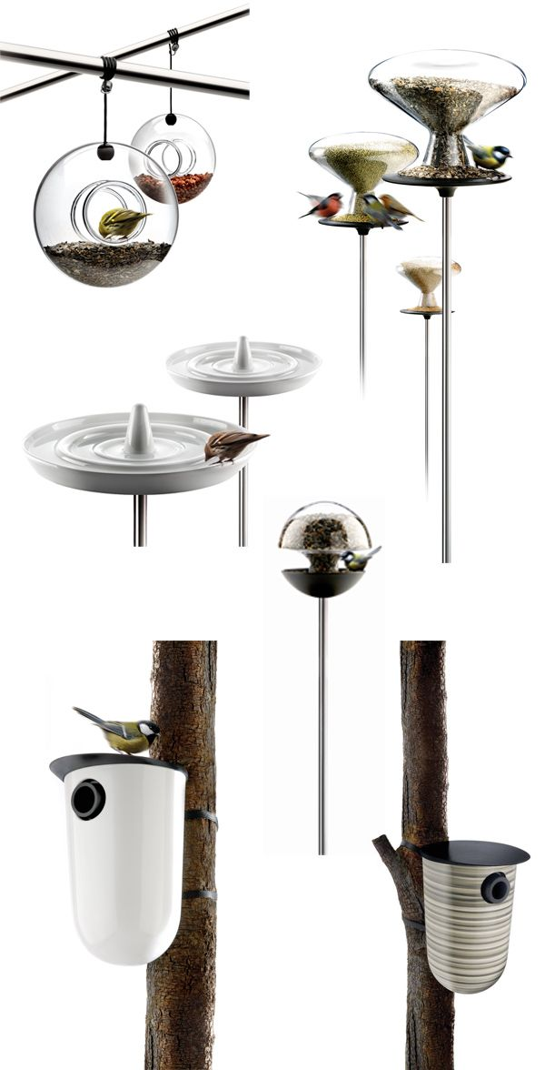 Modern bird houses and feeders. Simple and beautiful