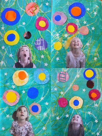 photos yeux fermés j'ai rêvé que + dessin dans les ronds fond encre craie grasse + perfo ronds