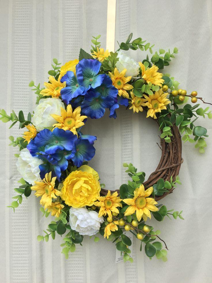 Summer Wreath Spring Wreath Yellow And Blue Wreath