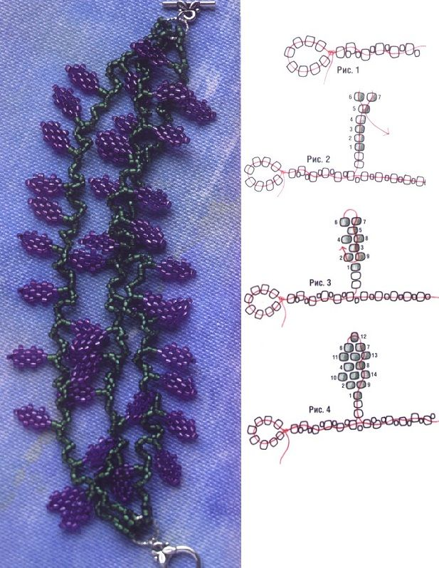 """Grapevine Bead bracelet schema. A spine is made then """"grapes"""" and leaves are made-- just fancy fringe. Translate if it helps. #seed #bead #tutorial"""
