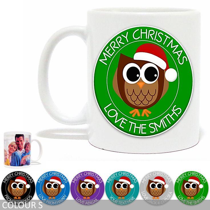 Personalised Christmas Photo Mug - Merry Christmas Owl