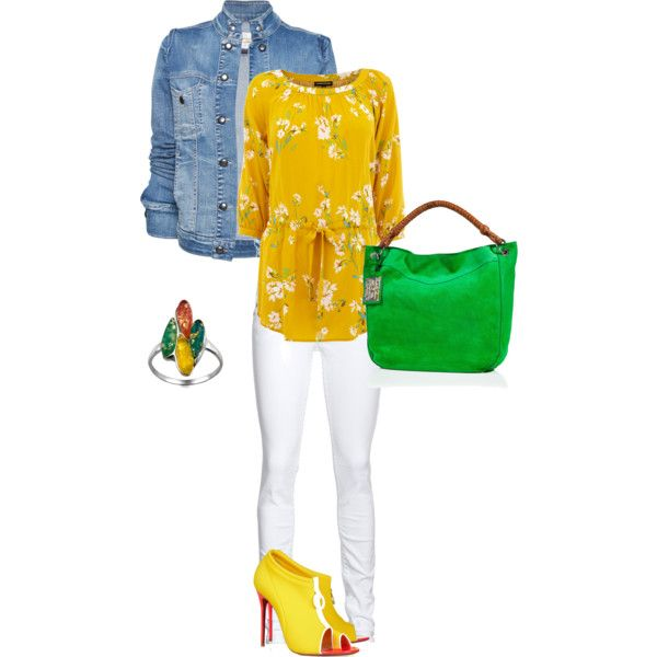 yellow floral, created by amber-perkins on Polyvore