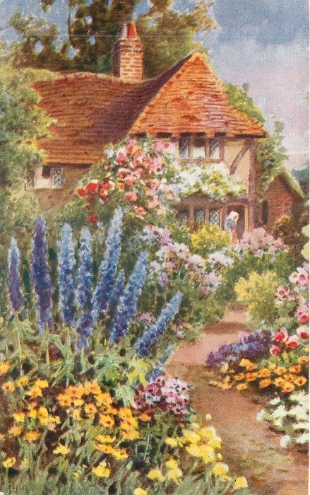 Cottage garden in front of tiled cottage, path  leading up, lady in porch with white bonnet, prominent blue delphiniums to left of path