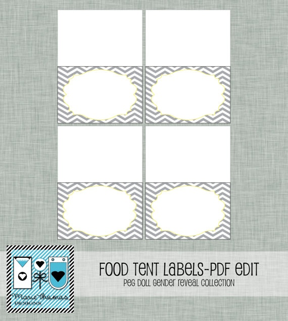 gender reveal food tent cards grey chevron diy printable with pdf