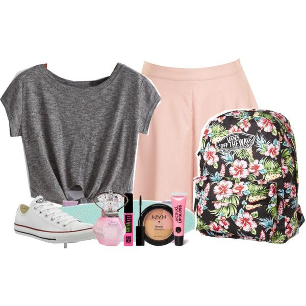 Skater Skirt Set by jessiecowgirl on Polyvore featuring polyvore fashion style Glamorous Converse Vans NYX Monki Maybelline