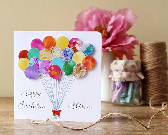Handmade Personalised Birthday Card - 3D Birthday Balloons Card, Happy Birthday Name, Personalized, BHE14 Cards by Gaynor
