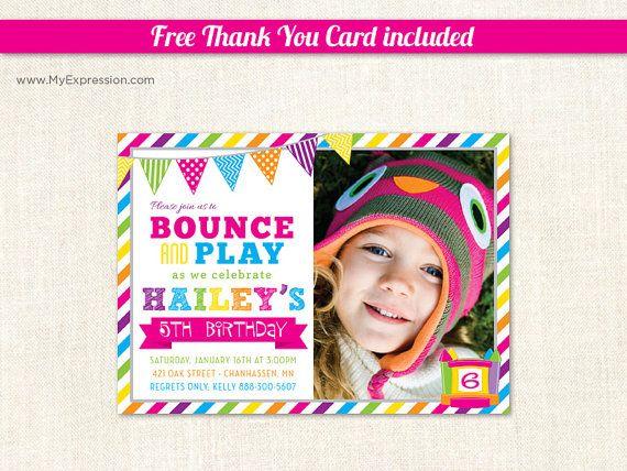 Bright Stripes Bounce House Girls Birthday Photo Card - Pump It Up Birthday Party - Girls Photo Birthday Invitations - Printable