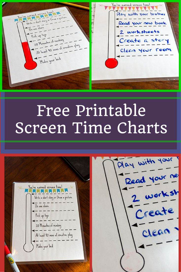 Free Printable Screen Time Charts - Have children complete ...