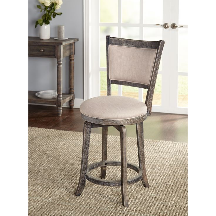Simple Living French Country Grey 24-inch Swivel Stool | Overstock.com Shopping - The Best Deals on Bar Stools