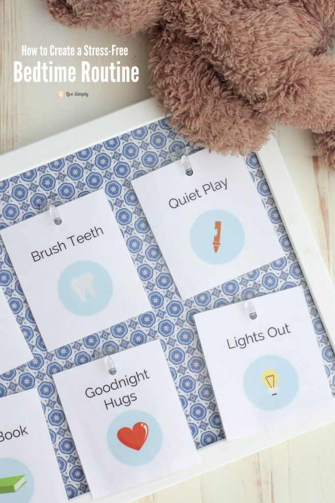 How to create a stress-free bed time routine plus free printable cards!!