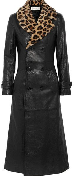 Saint Laurent - Leopard-print Shearling-trimmed Leather Coat - Black