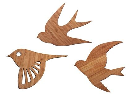 Bamboo flock of Birds Wall Art  - Set of 3 flying birds in silhouette | SuperVery