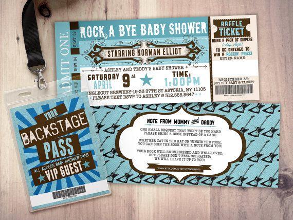 ROCK STAR concert ticket baby shower invitation-Coed baby shower invitation…