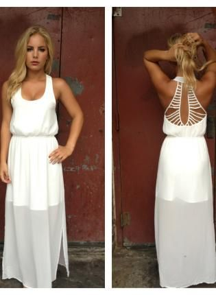 Rehearsal dress     White+Double+Slit+Maxi+Dress+with+Open+Strappy+Back,++Dress,+white+sheer+sleeveless+cutout+maxi,+Chic
