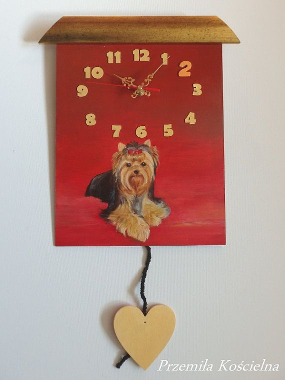 Unique PAINTED CLOCK DOG portrait Red Wall Clock by CanisArtStudio