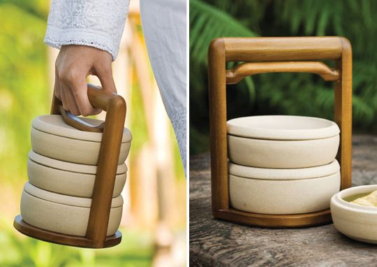 Sustainable, clean, economic, beautiful. LOVE this  way to pack a  lunch.....Jenggala Rantang - Indonesia: Portable elegance  with buff ceramic containers (2 small and one large) in a recycled teak holder.