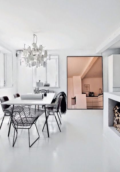 A monochrome home with copper details