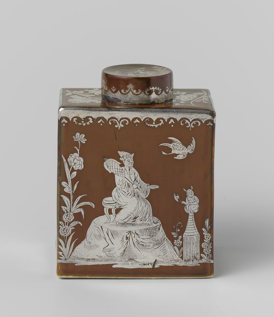 Lidded tea caddy by Meissener Porzellan Manufaktur, c.1730. Rijksmuseum, Public Domain