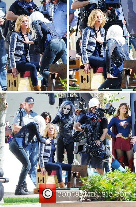 Calista Flockhart, Brit Morgan, Italia Ricci, and Melissa Benoist filming #Supergirl // #TheFlash crossover on Feb 22nd.