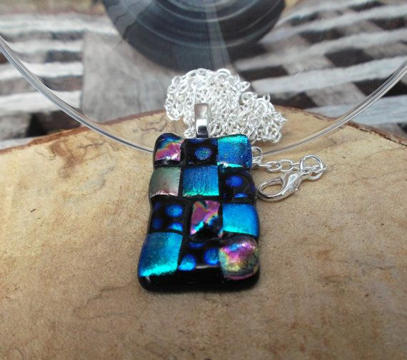 Mosaic style dichroic fused glass pendant in by deblizaccessories