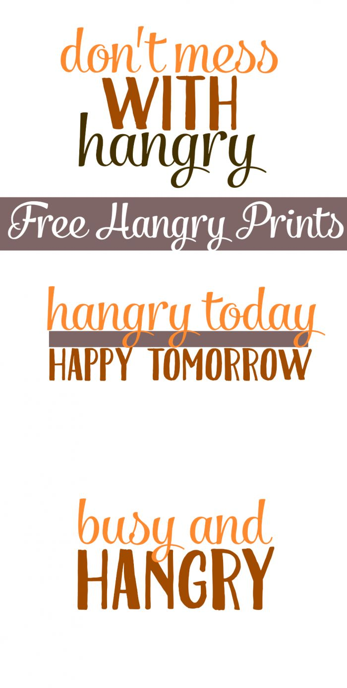 Download these free hangry printables to share just how YOU really feel when you're so hungry you're angry! ;)