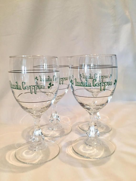 Set Of 4 Vintage Irish Coffee Gles With Measuring Lines