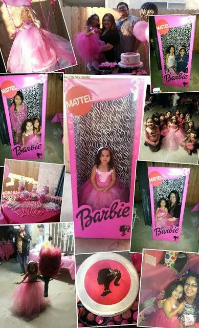 Pink & zebra barbie party.  #Collage #cake #candybags #photobooth #barbie #party #custom #made #mydaughterssilhouette #zebra #decorations #centerpiece