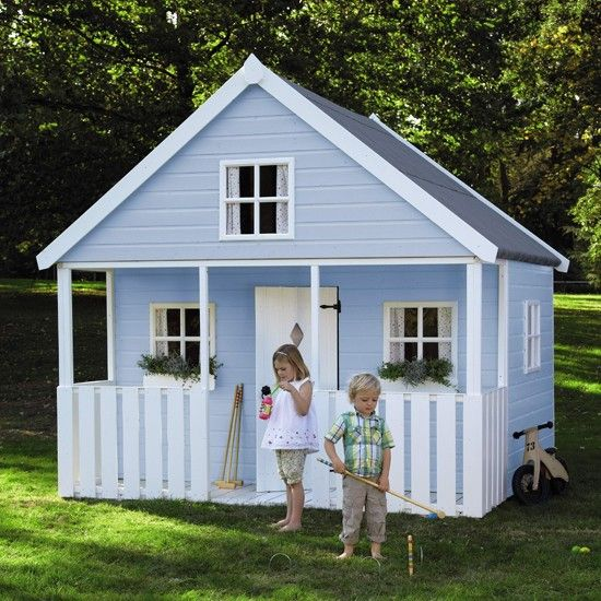 When a single-storey playhouse just won't do, how about this Apple Tree playhouse with a mezzanine level. It's the ideal place to relax after a busy morning playing croquet on the lawn. Painted in a soft blue with a crisp white trim it will appeal to miniature fans of New England style.