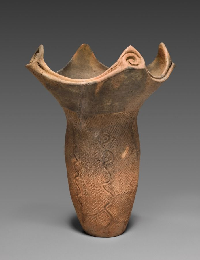 Japan, Middle Jomon Period (c. 10,500-c. 300 BC), earthenware with impressed and carved decoration, Diameter: w. 36.8 cm (14 7/16 in); Overall: h. 44.7 cm (17 9/16 in). John L. Severance Fund 1998.32