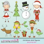 Christmas Family Stick Figures clipart comes with 9 graphics including a stick figure Santa Dad, stick figure Santa Mom, a stick figure cat with santa hat, a stick figure dog with santa hat, a stick figure baby, a stick figure baby with santa hat, a boy stick figure popping out of a present, and a girl stick figure popping out of a present.