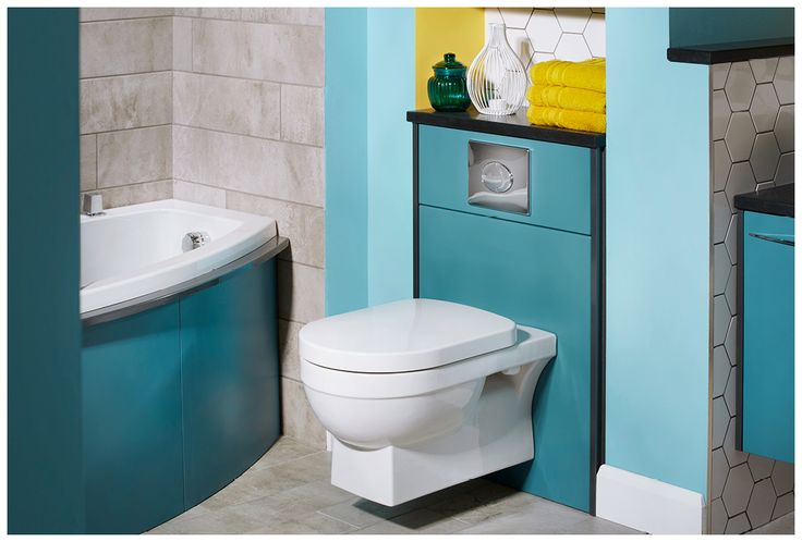 The quantum square wall hung toilet has a soft close seat as standard #symmetry #symmetrymodular #bathroomfurniture #myutopia