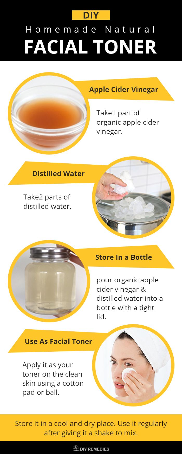 DIY Homemade Natural Facial Toner  Apple cider vinegar is loaded with powerful enzymes, beneficial acids and nutrients that are essential for skin care. It has antimicrobial, antioxidant and antiseptic properties that deal with skin infections and makes it problem free. #FacialToner #Natural #Homemade