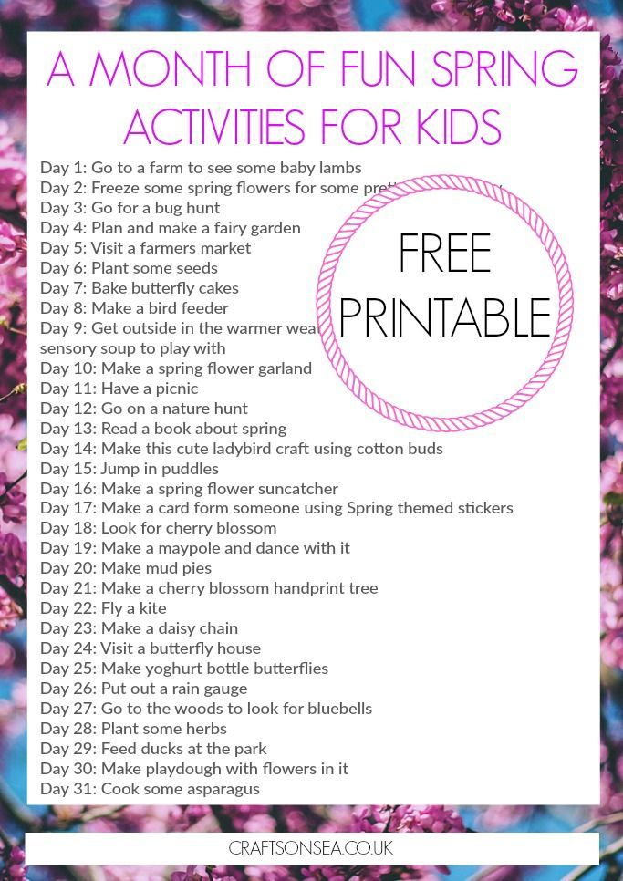Grab this free printable and make sure you don't hear 'I'm bored' with a whole month of fun Spring activities for kids. Makes a great bucket list!