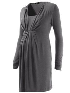 Square Neck Long Sleeves Pleated Maternity Tee
