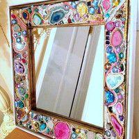 NEW-YEAR SALE Jeweled Mosaic Mirror Druzy,gems,minerals, crystals