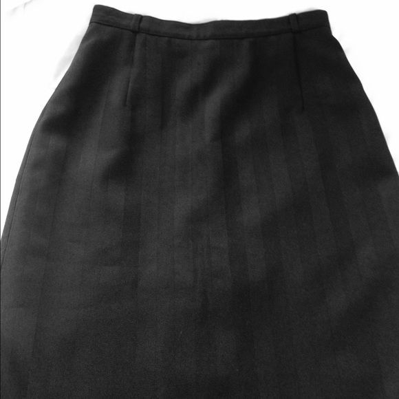 Vtg Damart Marque Deposee Skirt  Stunning black pencil skirt made in France. Black on black stripes, back zipper closure, decorative buttons on either side of back slit. Waist measures 26 inches, length 29.5 inches. 100% polyester. In excellent condition. ✅ REASONABLE OFFERS WELCOME  Vintage Skirts Pencil