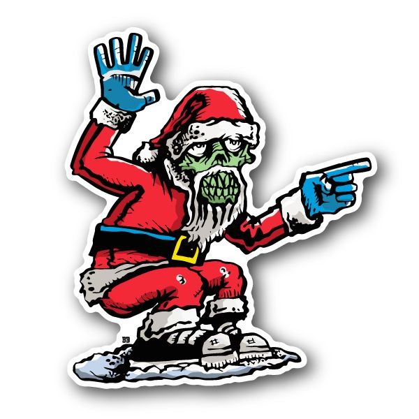Zombie santa vinyl sticker bobby draws skullz pinterest white ink
