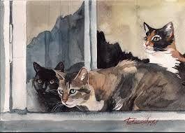 """Résultat de recherche d'images pour """"chat dans l'escalier aquarelle"""""""