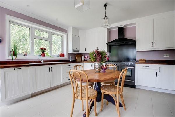 White kitchen - white + lilac, American walnut worktop, pine kitchen units