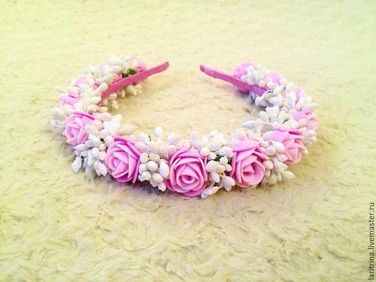 """Купить Ободок """"Нежная роза"""" - ободок для волос, ободок с цветами, ободок, ободок для девочки"""