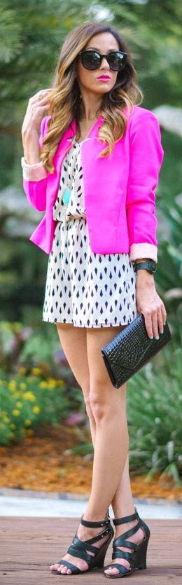 Necessary Clothing Neon Pink Women's Classic Short Blazer by Sequins & Things